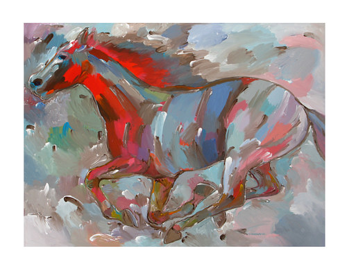 A painting of a running horse
