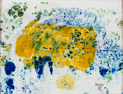 An abstract ink and encaustic painting in yellow and blue