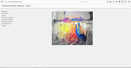 A screen capture of Catherine Radix Mansell's art website