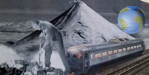 A collaged image with a human figure alonside a train and mountains