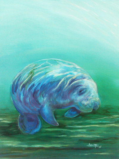 A painting of a baby manatee