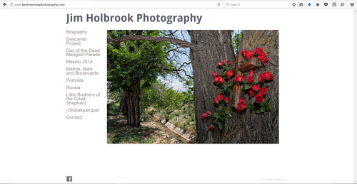 A screen capture of Jim Holbrook's photography website