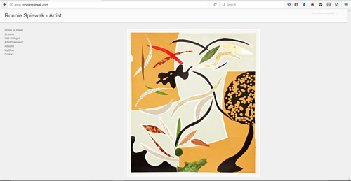A screen capture of Ronnie Spiewak's art website