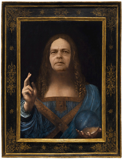 A manipulated image combining Salvator Mundi with Dmitry E. Rybolovlev