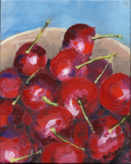 An acrylic painting of some cherries in a bowl
