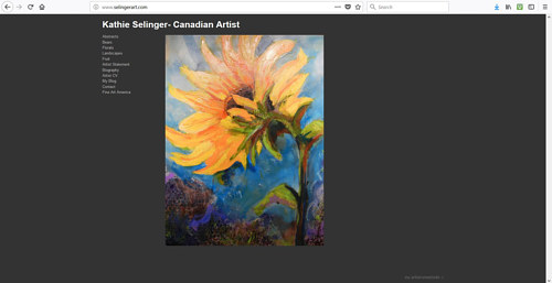 The front page of Kathie Selinger's art website