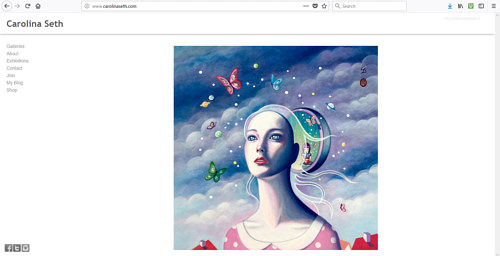 A screen capture of Carolina Seth's art website