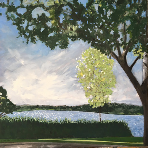 A painting of trees and a path in front of a body of water