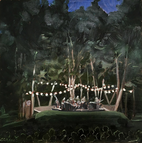 A painting of some lanterns hung in darkened trees