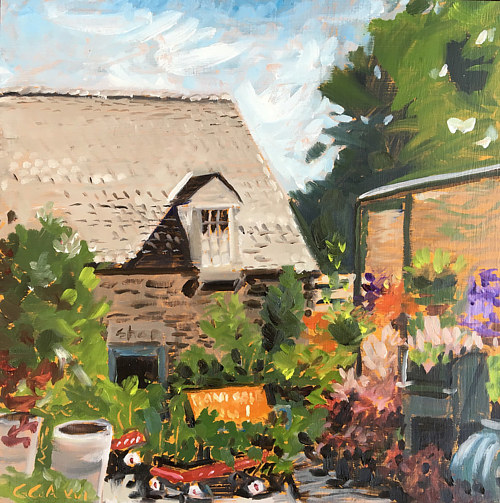 A painting of plants in front of a house