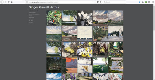 The gallery of available paintings on Ginger Arthur's art website