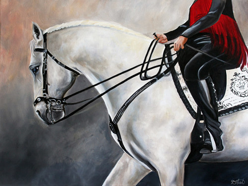 A painting of a rider on a white horse
