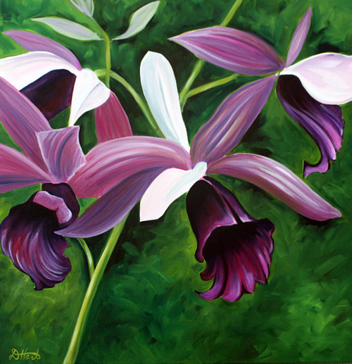 An oil painting of a purple orchid