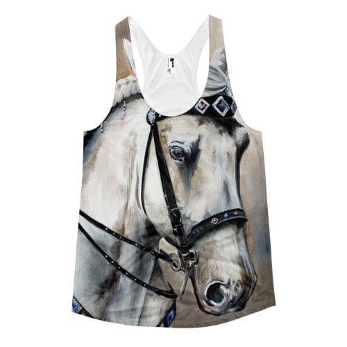 A tank top printed with a painting of a horse