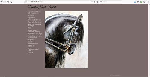 A screen capture of Debbie Hart's art website