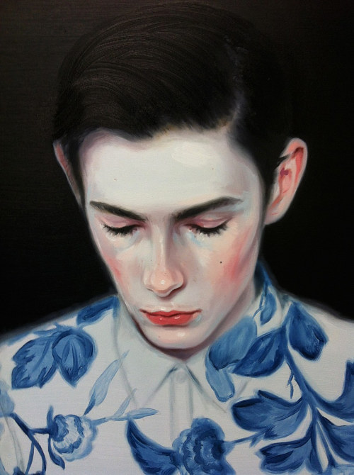 A painting of a young man in a floral shirt