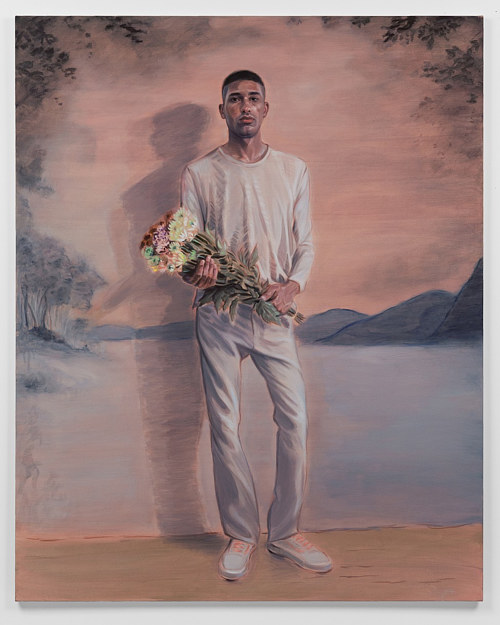 A painting of a man dressed in white, holding a bouquet