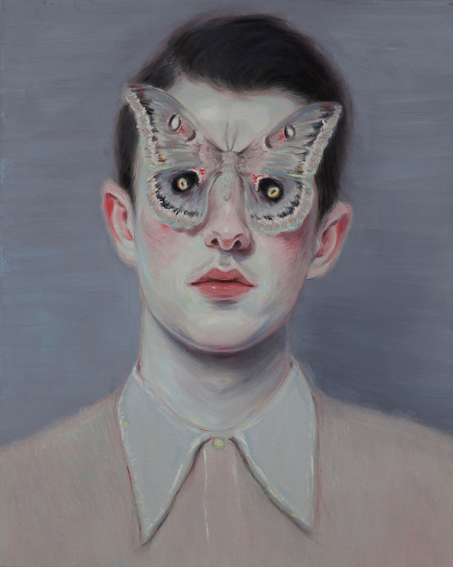 A painting of a young man with a butterfly on his face