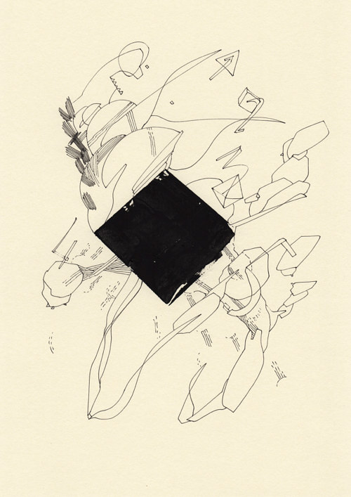 An abstract drawing with a plane of black pigment