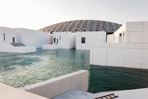 A photo of the exterior of the Louvre Abu Dhabi