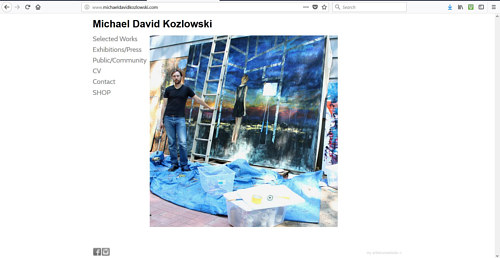 The front page of Michael David Kozlowski's art website