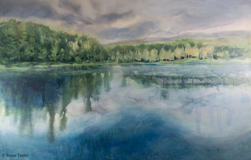 A watercolor painting of a still lake