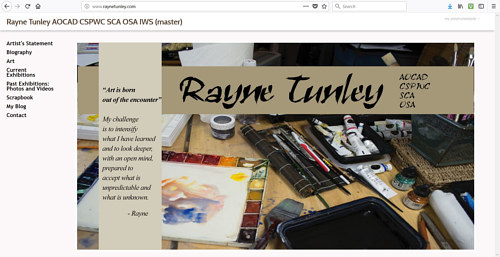 A screen capture of Rayne Tunley's art website