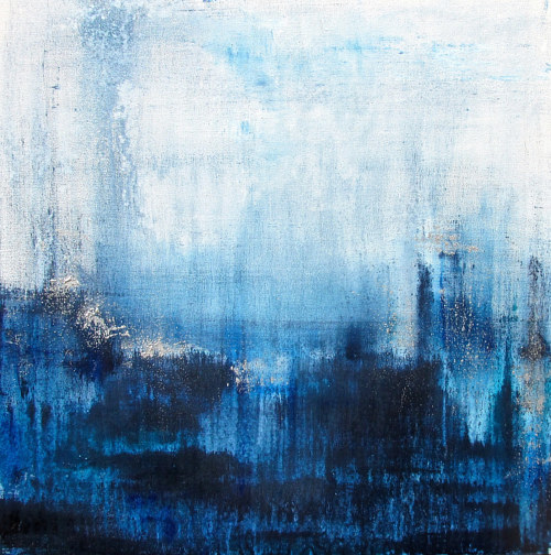 An abstract acrylic painting of a wintery blue gradient