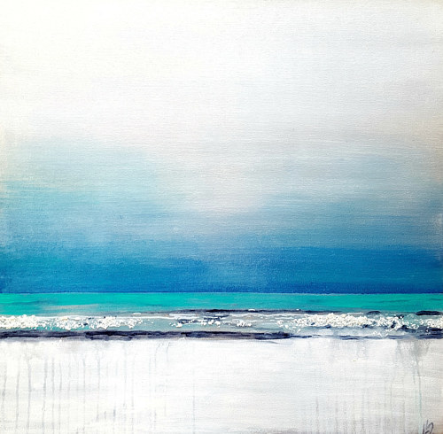 A painting of an icy ocean scene