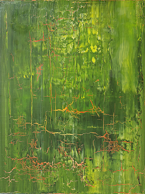 A painting made with cracked, heavily layered green pigment