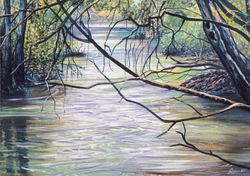 A painting of trees and foliage falling over the Bow river