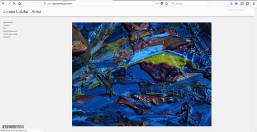A screen capture of the front page of James Lutzko's art website