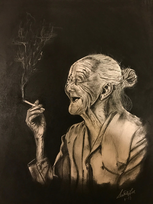 A charcoal drawing of an elderly woman smoking a cigarette