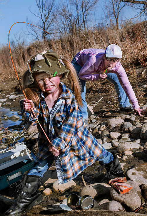 A staged photo of a family fishing trip gone awry