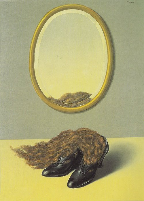 Painting of hair in shoes with mirror on top