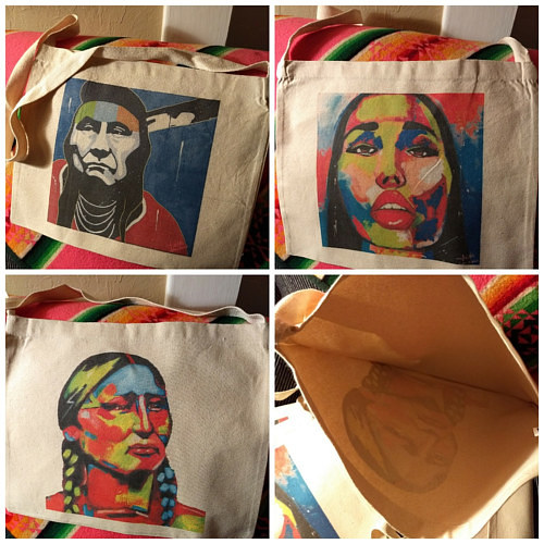 A series of painted canvas bags with depictions of Native Americans