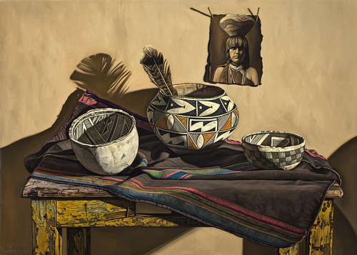 An oil painting of several antique objects dating back to the American frontier