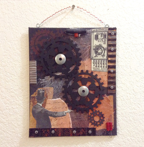 A mixed media artwork with steampunk imagery