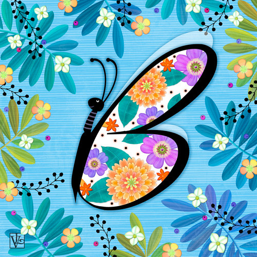A diigital illustration of a butterfly based on the form of the letter B