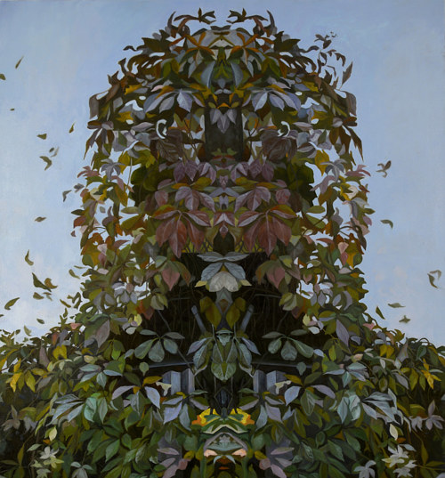 A painting of a bust formed out of leaves