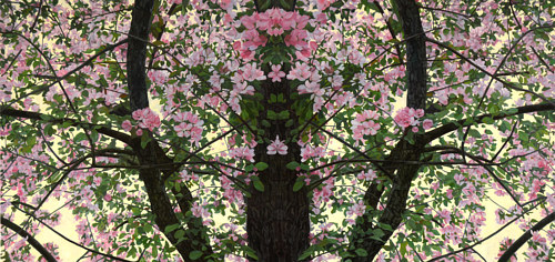 A painting of a tree with pink flowers
