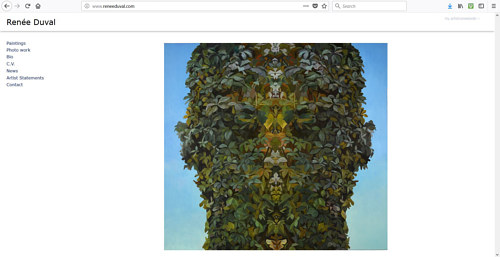 A screen capture of Renee Duval's artist website