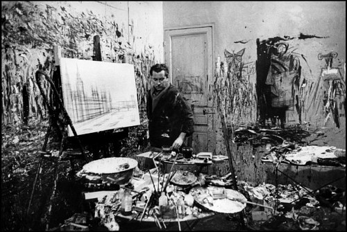 A photo of Bernard Buffet at work in his studio