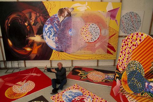 A photo of James Rosenquist in his studio