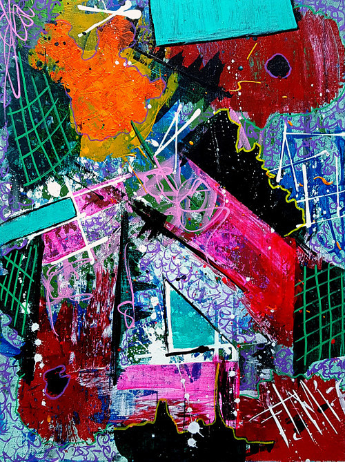 An abstract painting with bright colors and white highlights