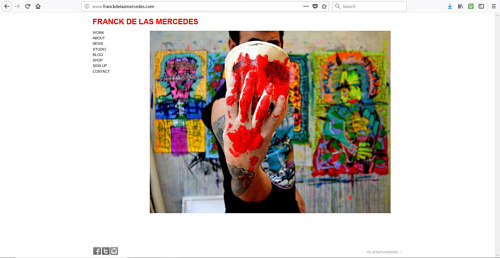 A screen capture of Franck De Las Mercedes' art website
