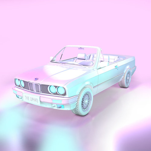 A digitally rendered artwork of a holographic-colored car