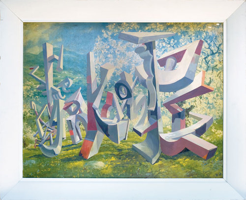 A word painting with distorted letterforms