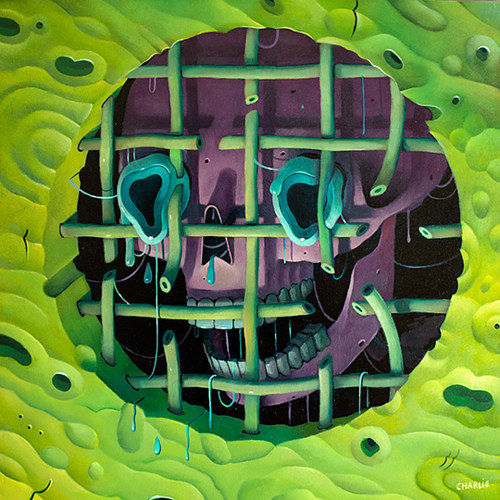 A painting of a purple skull leering from green bars