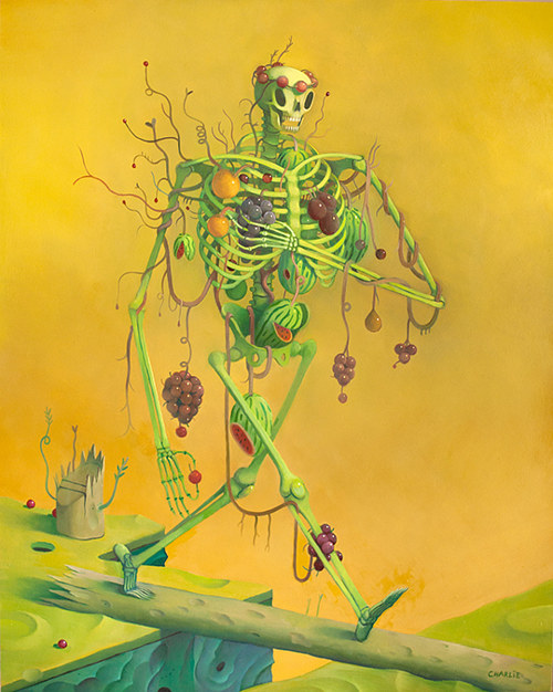 A painting of a skeleton adorned with fruit
